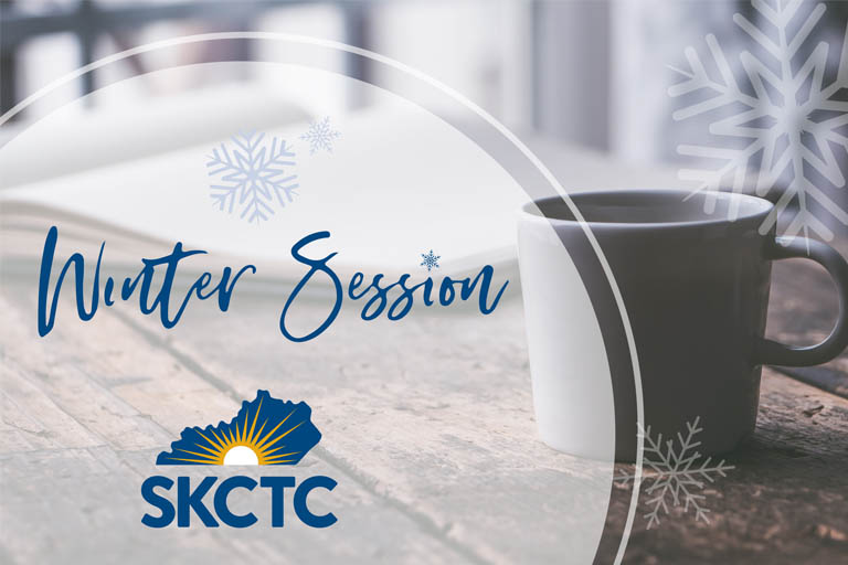 Coffee with steam. A winter session text and SKCTC logo compliment photo.