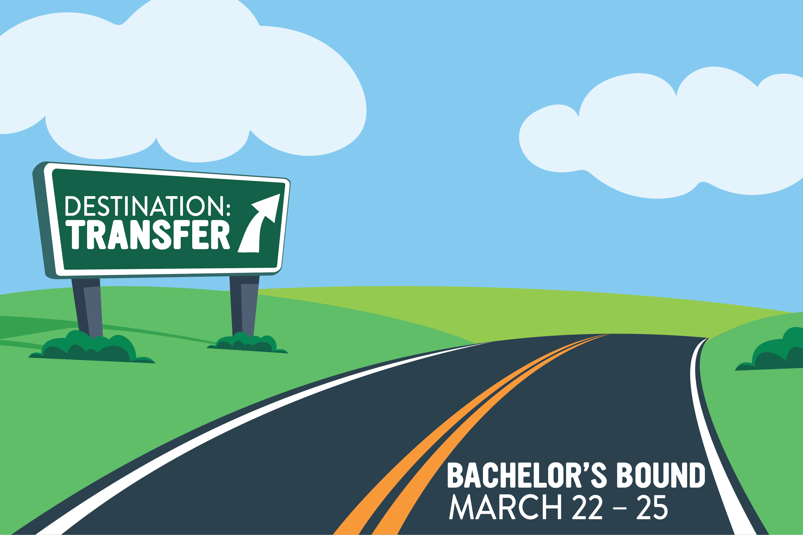 An illustrated graphic of a road with clouds in the sky. There is a road sign that says Transfer Fair.