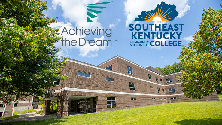 A low-angle photo of the Godbey Appalachian Center with the college logo and Achieving the Dream logo placed in the sky of the photo.