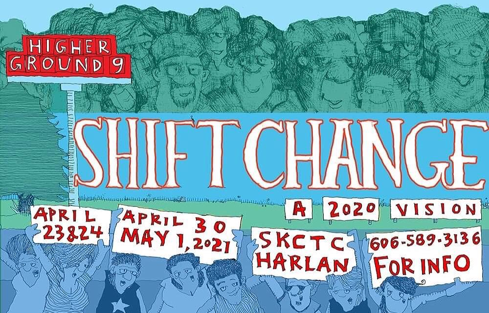 A drawing with people holding signs. It is the 9th version of the musical. This one is titled Shift Change.