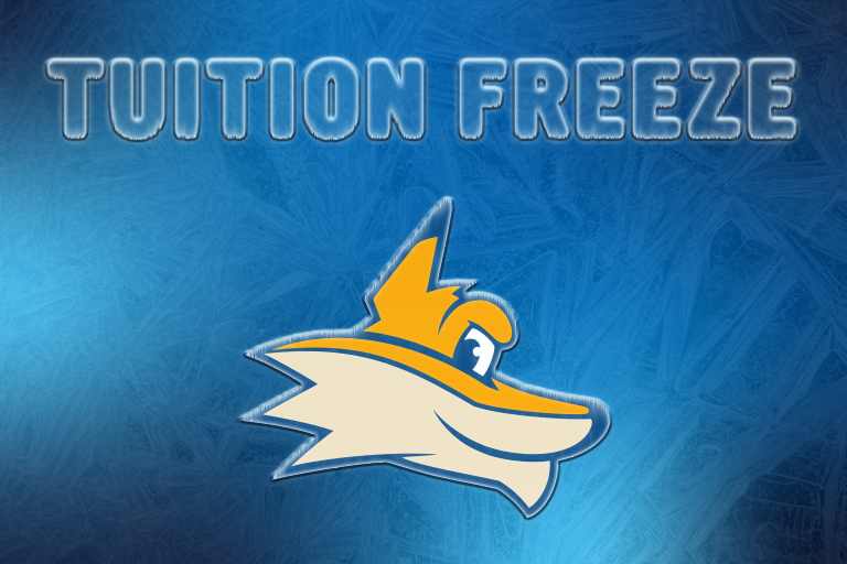 A graphic with a pathfinder in the middle. An icey blue background. There is text that says tuition freeze.